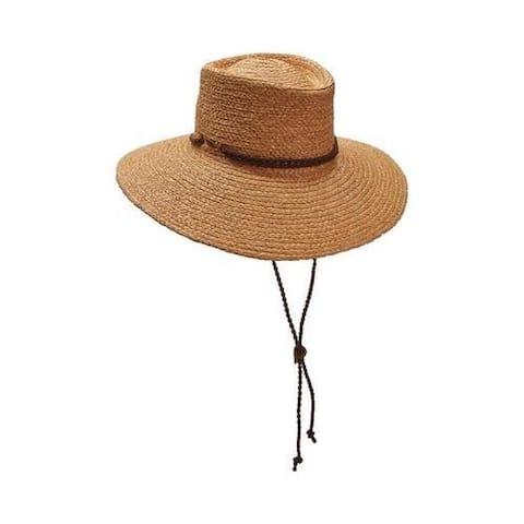 Women's Scala LR686 Braid Raffia Boater Hat with Chincord Tea