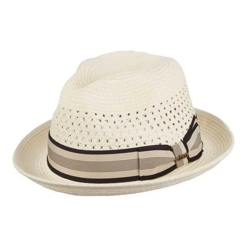 Men's Scala MS32 Vent Crown Braided Fedora Ivory