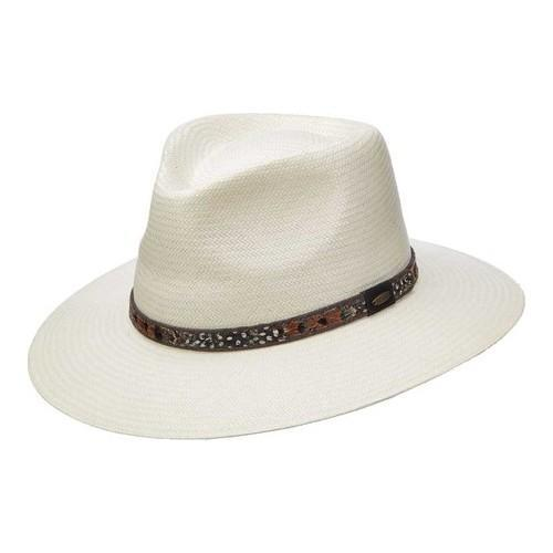 6a6f8315a Men's Scala MS371 Toyo Outback Fedora with Feather Ivory