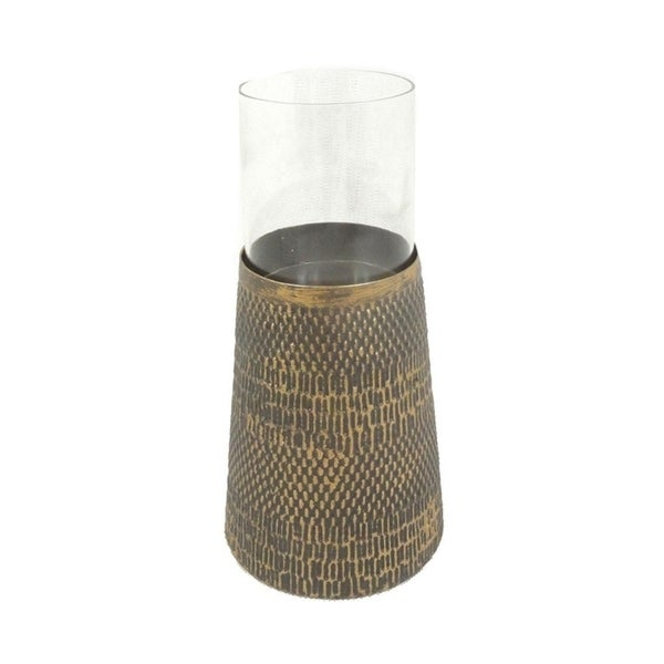 Sagebrook Home 11701 Metal & Glass Candle Holder, Antique Gold Metal, 4.5 x 4.5 x 5.75 Inches