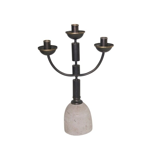 Sagebrook Home 12451 Decorative Metal Candle Holder, Black Iron/Wood, 11.75 x 4.75 x 17.75 Inches