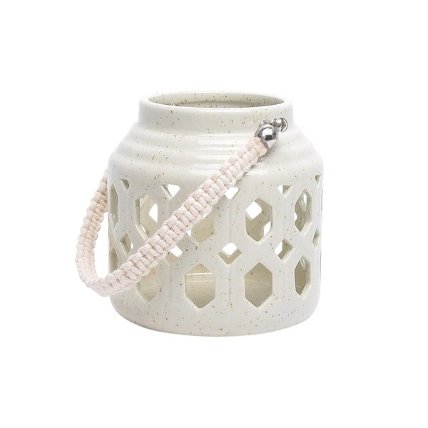 Sagebrook Home 13191-04 Ceramic Candle Lantern, Pale Green Ceramic, 5.5 x 5.5 x 5.5 Inches