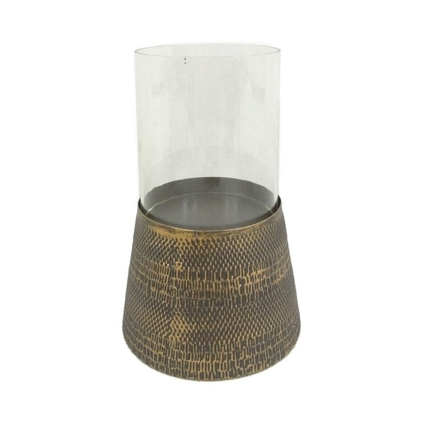 Sagebrook Home 11703 Metal & Glass Candle Holder, Antique Gold Metal, 8 x 8 x 5.75 Inches