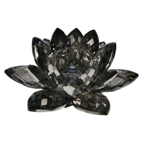 Sagebrook Home 13211-05 Crystal Lotus Tealight Candle Holder, Gray Glass, 8.25 x 8.25 x 3 Inches