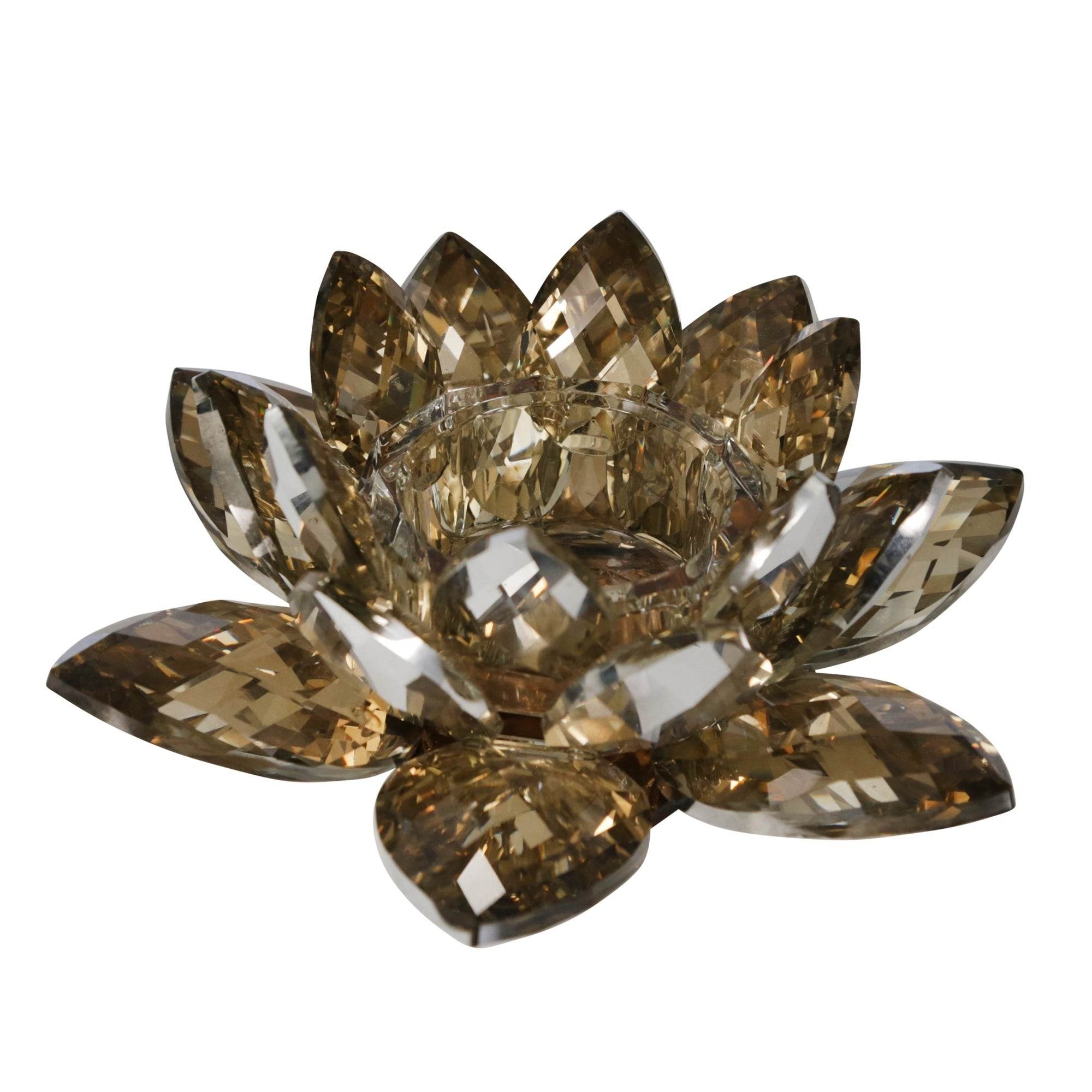 Sagebrook Home 13211 03 Crystal Lotus Tealight Candle Holder Amber Glass 8 25 X 8 25 X 3 Inches Overstock 21302113