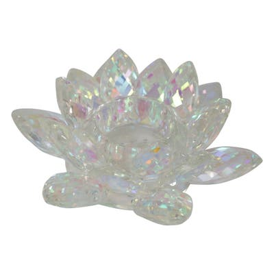 Sagebrook Home 13211-14 Crystal Lotus Tealight Candle Holder,Rainbow Glass, 6 x 6 x 2.25 Inches
