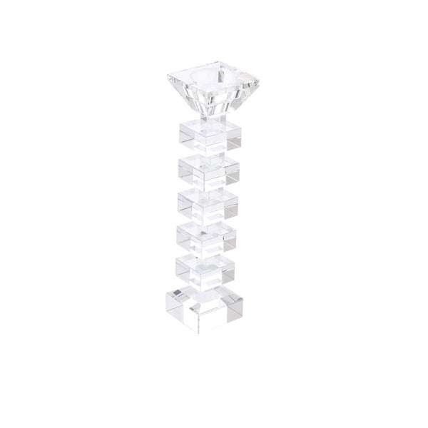 Sagebrook Home 13317-01 Crystal Candle Holder, Clear Crystal, 2.25 x 2.25 x 9.5 Inches
