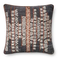 Stone-wash Denim Blue/ Rust 22-inch Throw Pillow or Pillow Cover