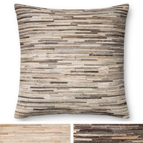 Rustic Natural Leather Sewn 22-inch Throw Pillow or Pillow Cover