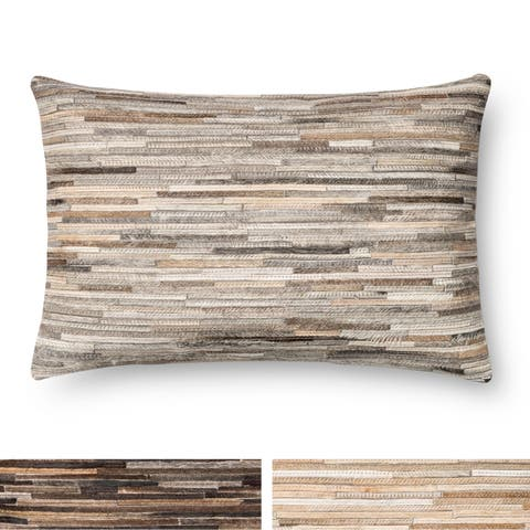Rustic Natural Leather Sewn 13 x 21 Throw Pillow or Pillow Cover
