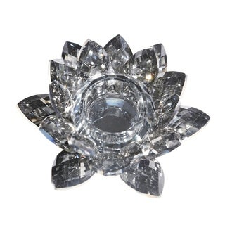 Sagebrook Home 13211-06 Crystal Lotus Tealight Candle Holder, Gray Glass, 6 x 6 x 2 Inches