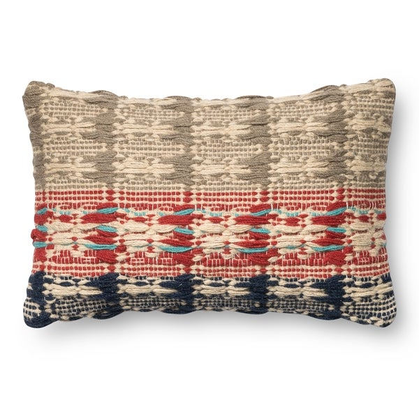 Woven Cotton/ Wool Red/ Blue 13 x 21 Throw Pillow or Pillow Cover