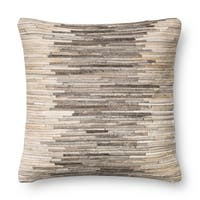 Rustic Grey/ Beige Leather Sewn 18-inch Throw Pillow or Pillow Cover