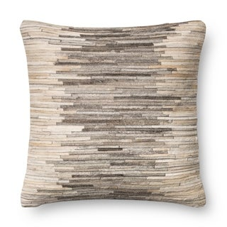 Rustic Grey/ Beige Leather Sewn Throw Pillow or Pillow Cover 18 x 18