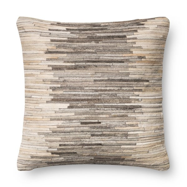 Rustic Grey Beige Leather Sewn 18 Inch Throw Pillow Or Cover