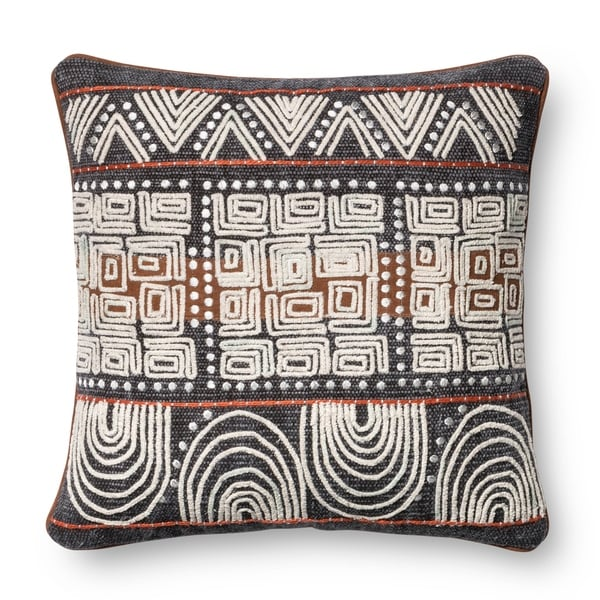 Stone-wash Denim Blue/ Rust 18-inch Throw Pillow or Pillow Cover