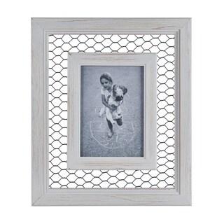 """Danya B. Chicken Wire Whitewash Wood Picture Frame - 5"""" x 7"""""""