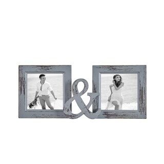 Danya B. Grey Distressed Reclaimed Wood Dual Picture Frame