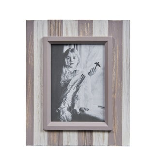 Danya B. Grey and White Distressed Wood Plank 5 x 7 Picture Frame