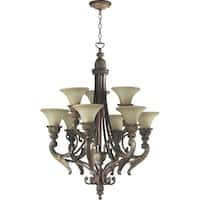 Madeleine Corsican Gold and Antique Amber 9-light Chandelier
