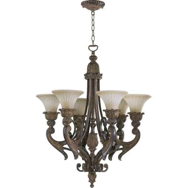 Madeleine Corsican Gold and Antique Amber 6-light Chandelier