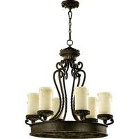Alameda Oiled Bronze and Amber Scavo 6-light Chandelier