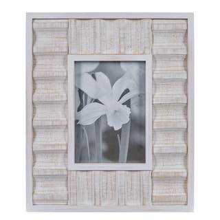 """Danya B. Carved Wood White Tabletop Display - 5"""" x 7"""" Picture Frame"""