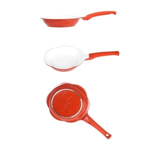 """Ceramic Non Stick Aluminum 5 1/2"""" Fry Pan - Sunny Side up Egg Frying Pan Red"""