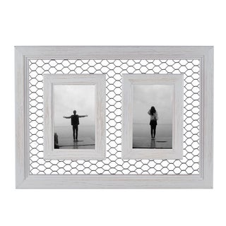 "Danya B. Double Chicken Wire Whitewash Wood Picture Frame - 4""x 6"""