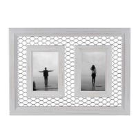 """Danya B. Double Chicken Wire Whitewash Wood Picture Frame - 4""""x 6"""""""