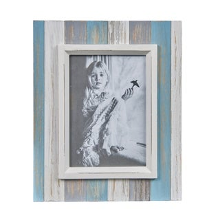 Danya B. Blue, Grey & White Distressed Wood Plank 5 x 7 Picture Frame
