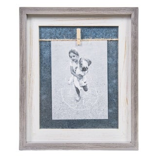 "Link to Danya B. Grey and White 5"" x 7"" Vertical Wood Picture Frame Similar Items in Decorative Accessories"