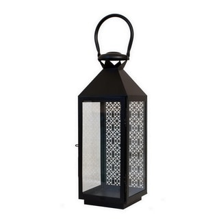 "Three Hands 21 "" Metal Pierced Lantern in Black"