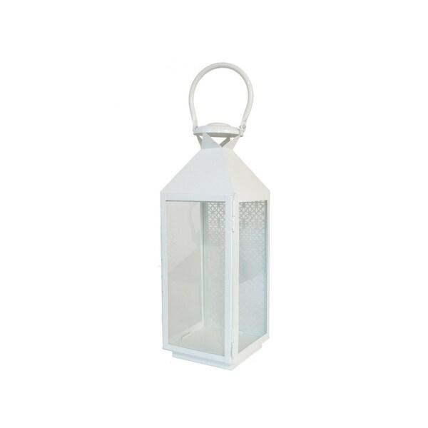 """Three Hands 17 """" Metal Pierced Lantern in White"""