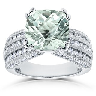 Annello by Kobelli 14k White Gold 5 3/4ct TGW Cushion Green Quartz and Diamond Multi-row Gemstone Ring