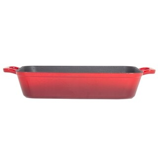 "Heavy Duty Red Enemeled Cast Iron 13"" X 9"" Lasagna Pan & Roaster"