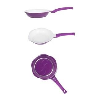 "Ceramic Non stick Aluminum 5 1/2"" Fry Pan - Sunny Side up Egg Frying Pan Purple"