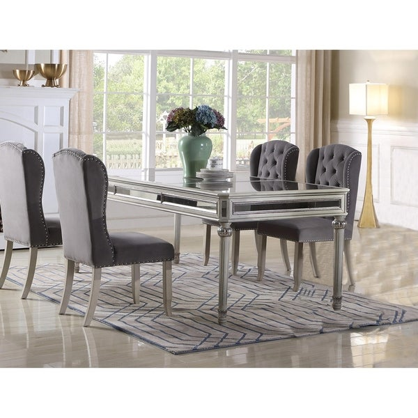 Best Master Furniture Antique Cream Mirrored Dining Table