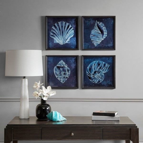 Madison Park Signature Seashell Wooden Wall Art with Graphics Set of 4