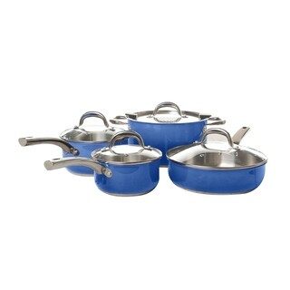8 Pcs Blue Stainless Steel Cookware Set - Pasta Stock Pot Saute Fry Pan Saucepan