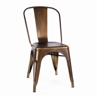 Amalfi Vintage Brass Steel Stackable Side Chair (Set of 2)