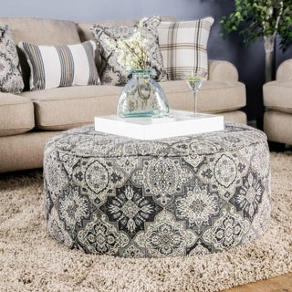 Furniture of America Moro Stain Resistant Floral Round Ottoman