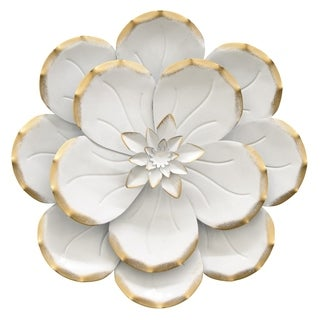 """Three Hands 10.5 """" Metal Flower Wall Decor in White"""