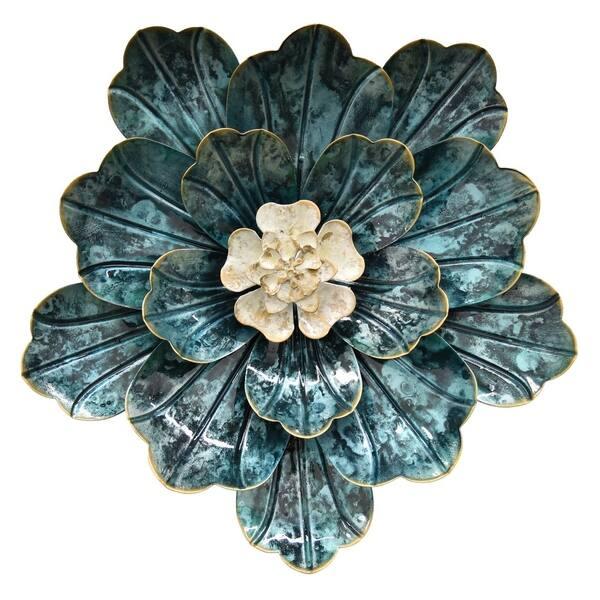 Blue Metal Wall Flowers