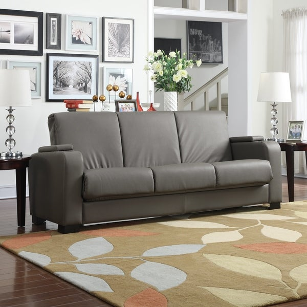 Handy Living Olivia Storage Arm Convert A Couch Taupe Synthetic Leather  Futon Sleeper Sofa