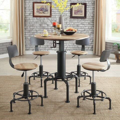 Furniture of America Marchison Industrial 3-Piece Bar Table Set - N/A