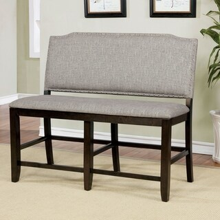 Furniture of America Manchester Linen Nailhead Counter Height Bench