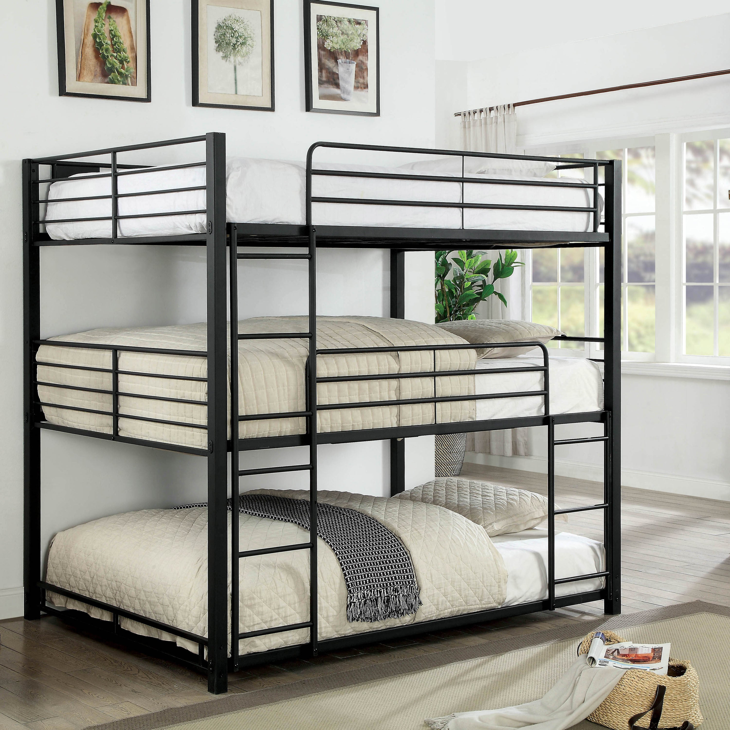 outlet store 19736 f3ff9 Cody Contemporary Sand Black Triple Decker Bunk Bed by FOA
