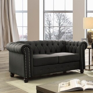 Furniture of America Martine Traditional Tufted Chesterfield Loveseat (2 options available)