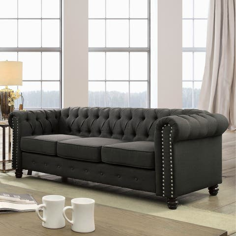 Martine Traditional Tufted Chesterfield Sofa by FOA